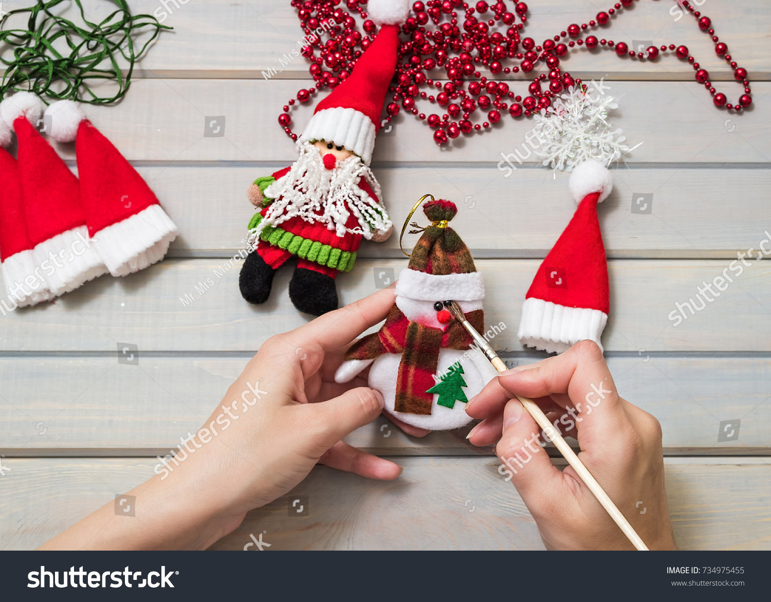 Christmas Gifts Handmade Wooden Background Top Stock Photo (Edit Now ...