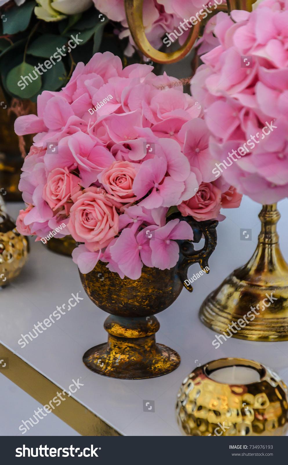 Delicate Bouquet Hydrangea Flowers Roses Antique Stock Photo Edit Now 734976193