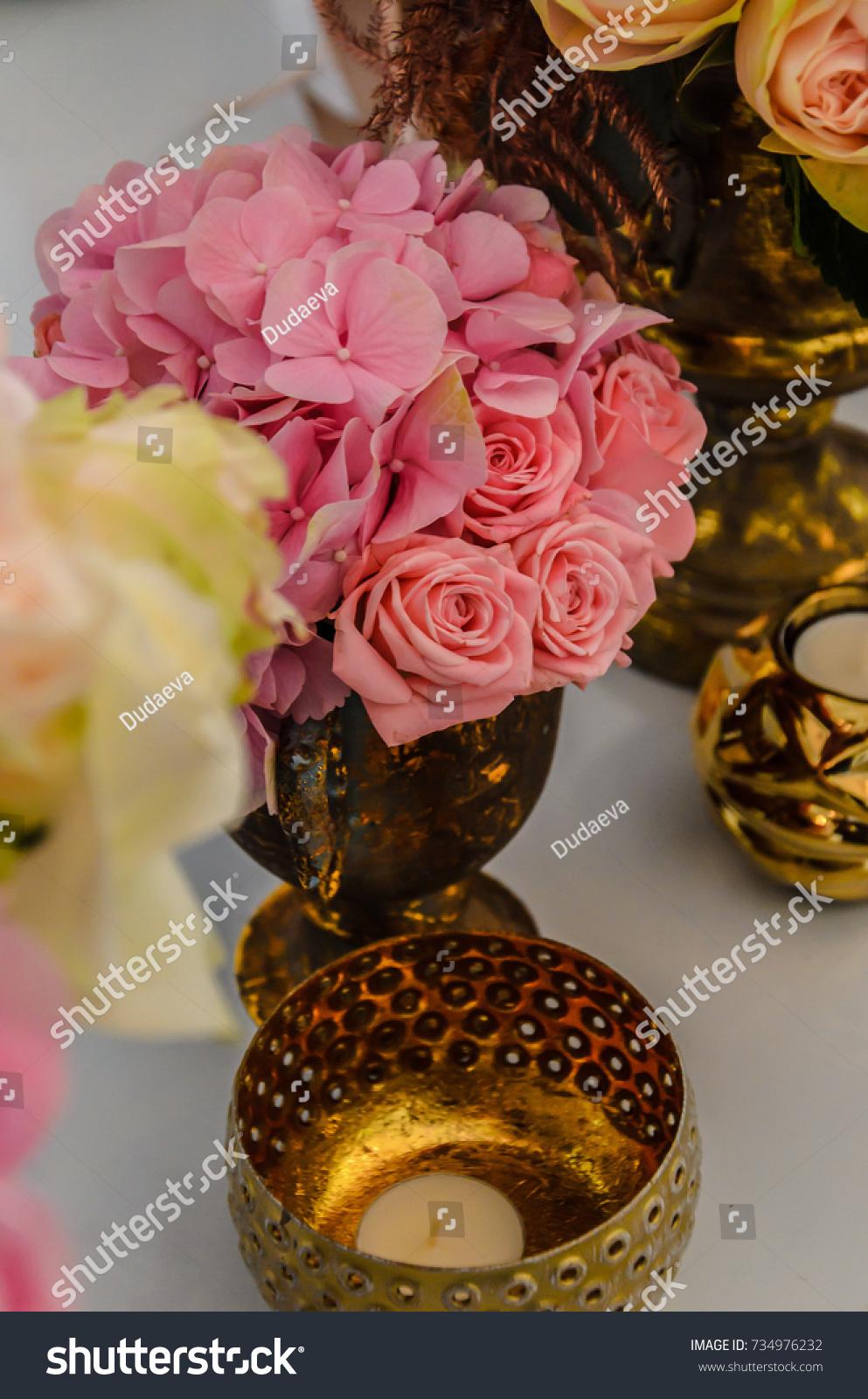 Delicate Bouquet Hydrangea Flowers Roses Antique Stock Photo Edit Now 734976232