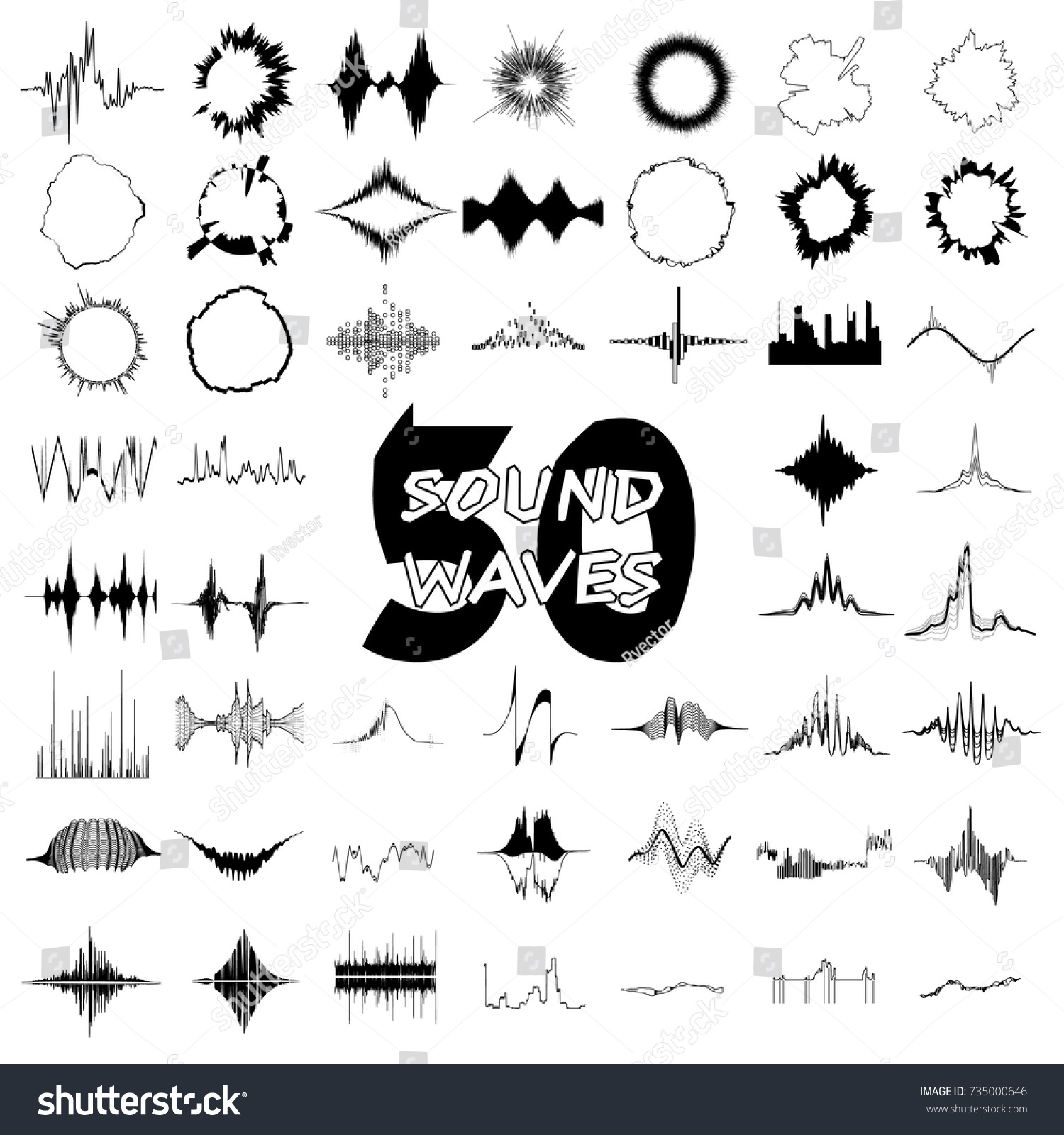 50 Sound Wave Audio Icons Set Stock Vector (Royalty Free