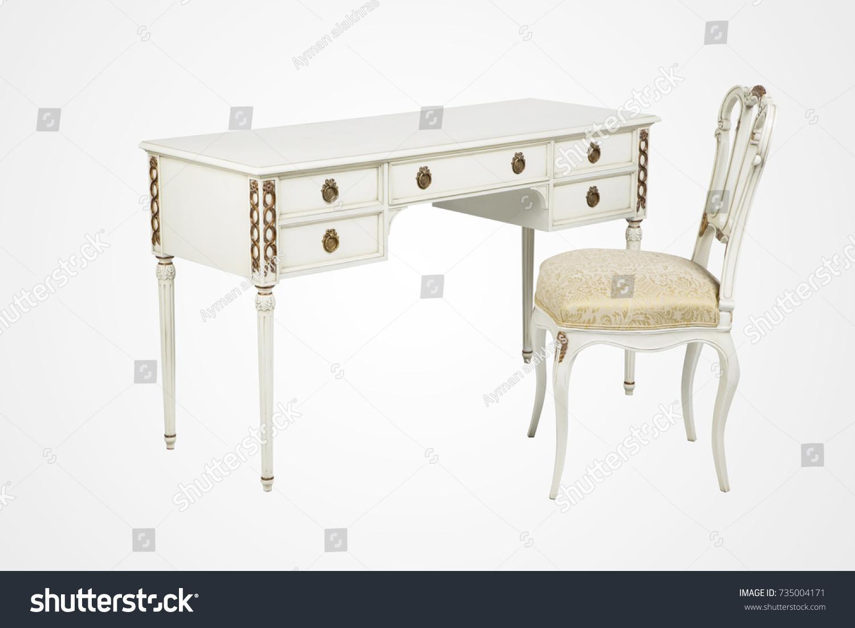 Vintage White Wooden Desk Chair Set Stock Photo Edit Now 735004171