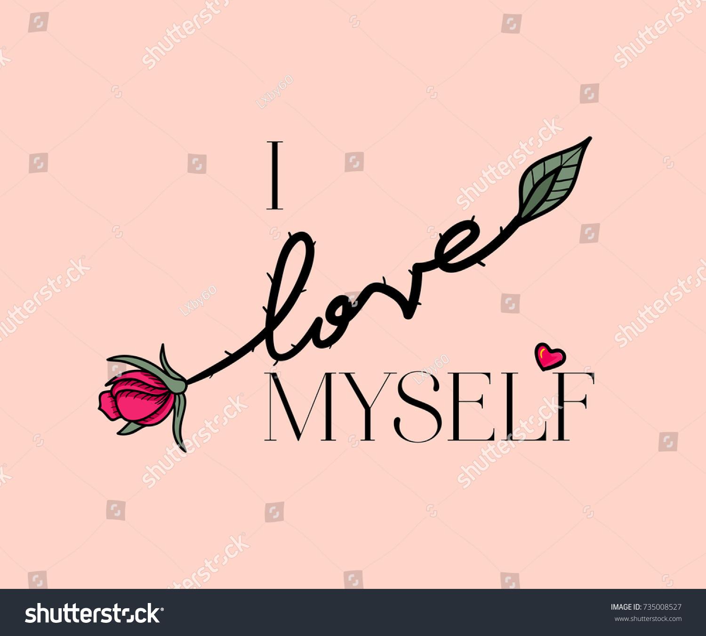 Love Myself Slogan Rose Vector Patch Stockvector Rechtenvrij