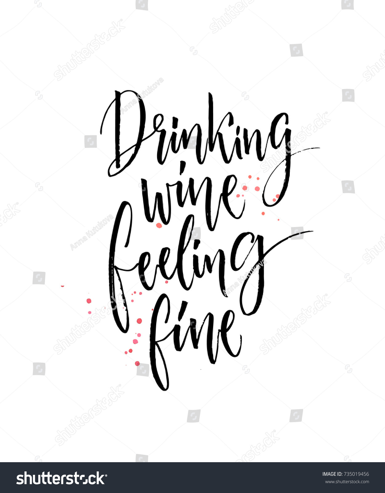 Drinking Wine Feeling Fine Funny Quote Stock Vector Royalty Free