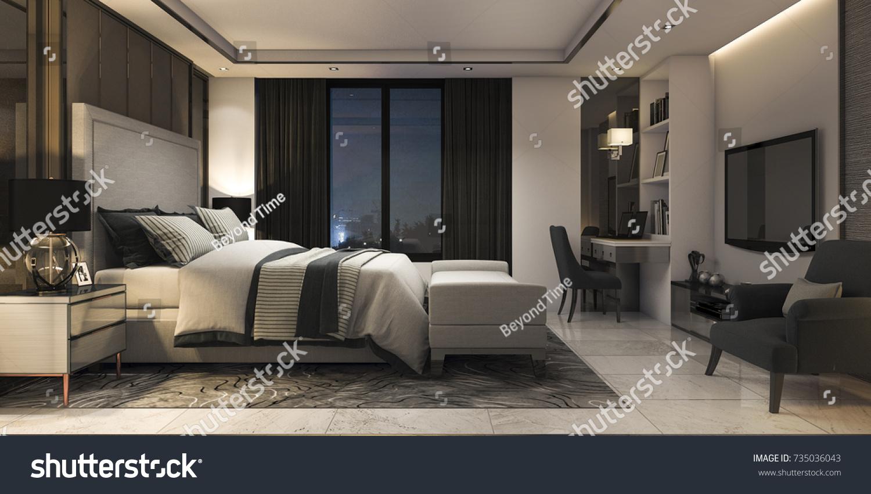 bedroom modern luxury. 3d Rendering Modern Luxury Bedroom Suite In Hotel With Decor