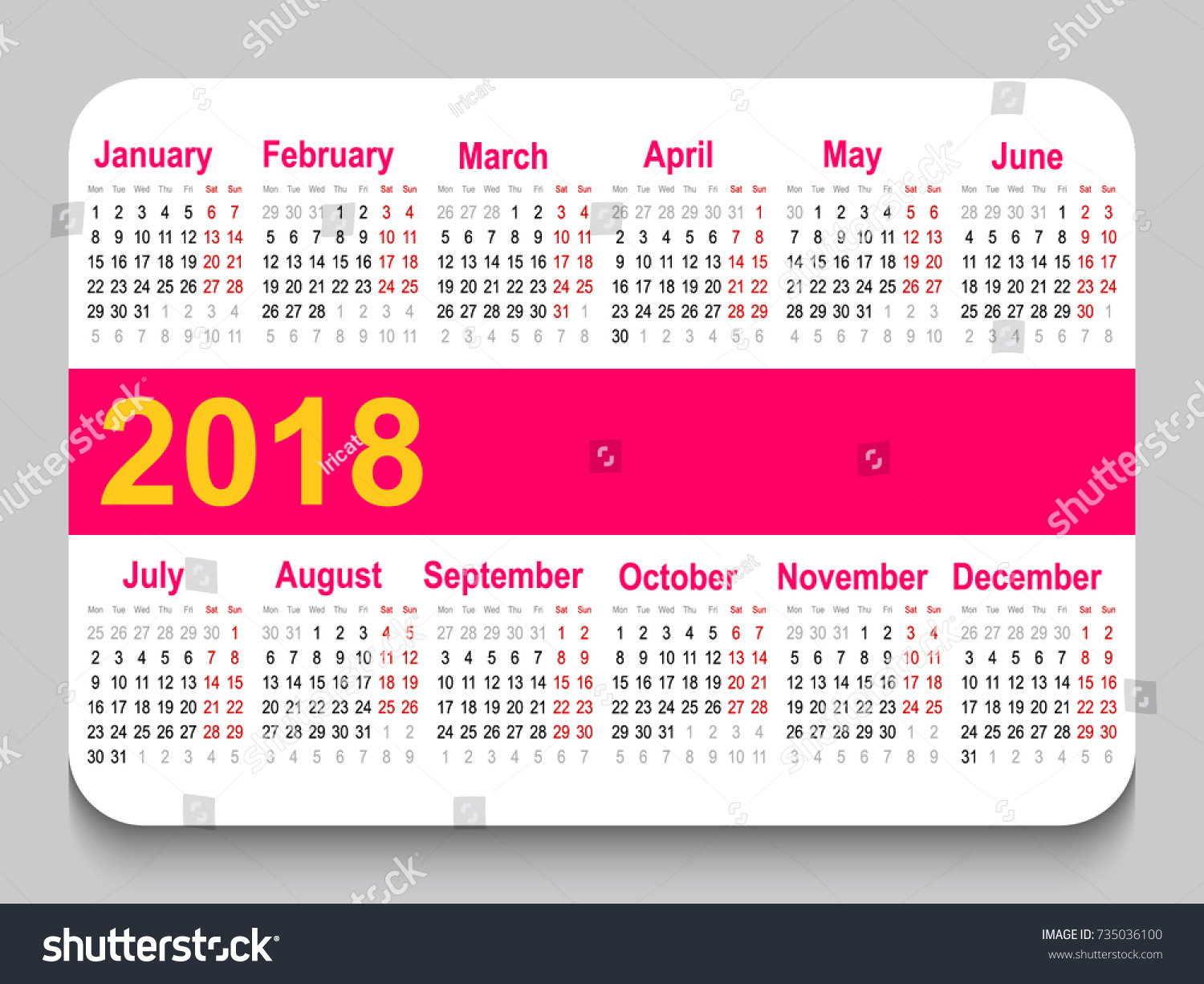 2018 pocket calendar template calendar grid horizontal orientation week starts on monday