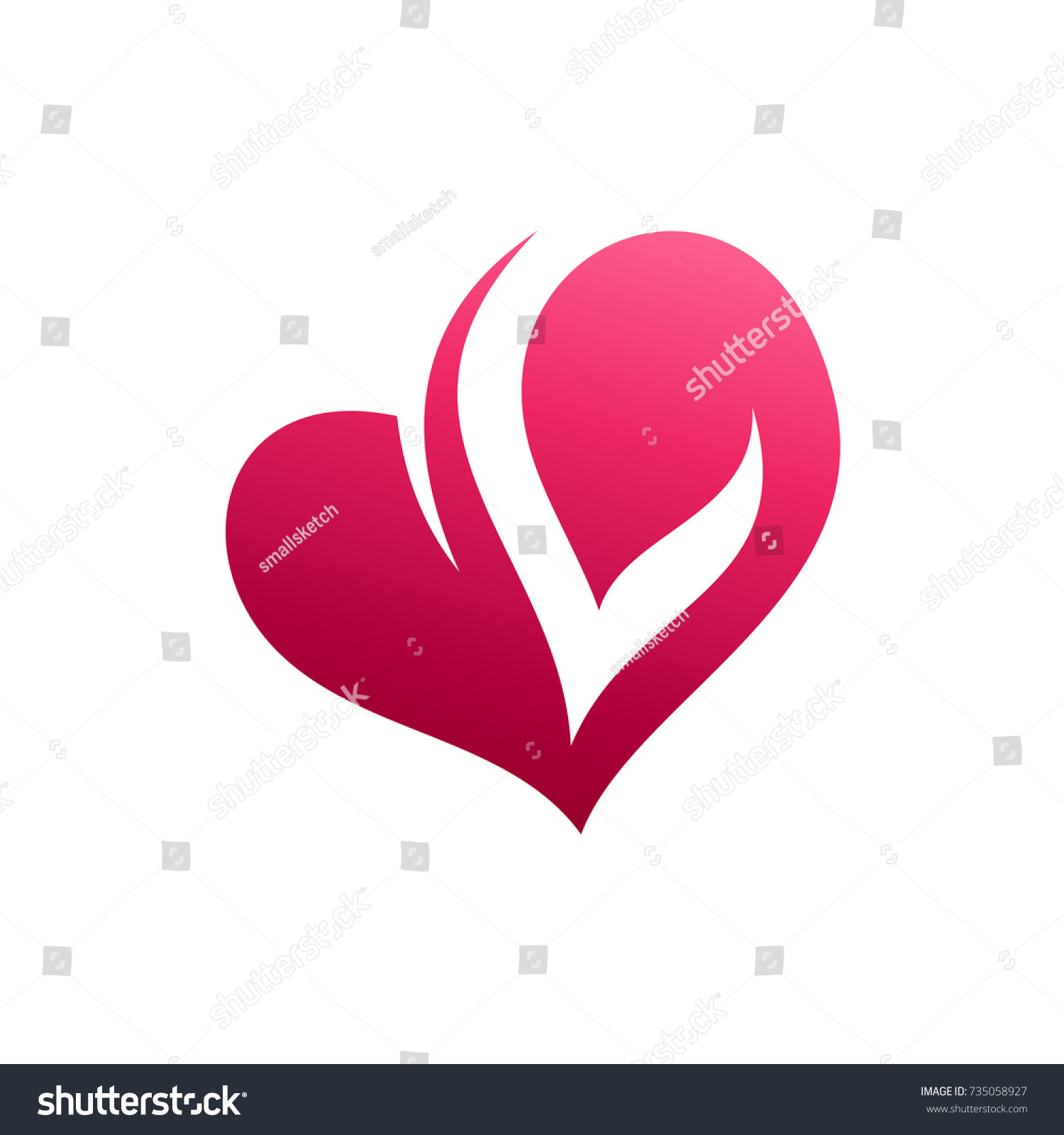 Love Letter L Initial Logo Template Stock Vector