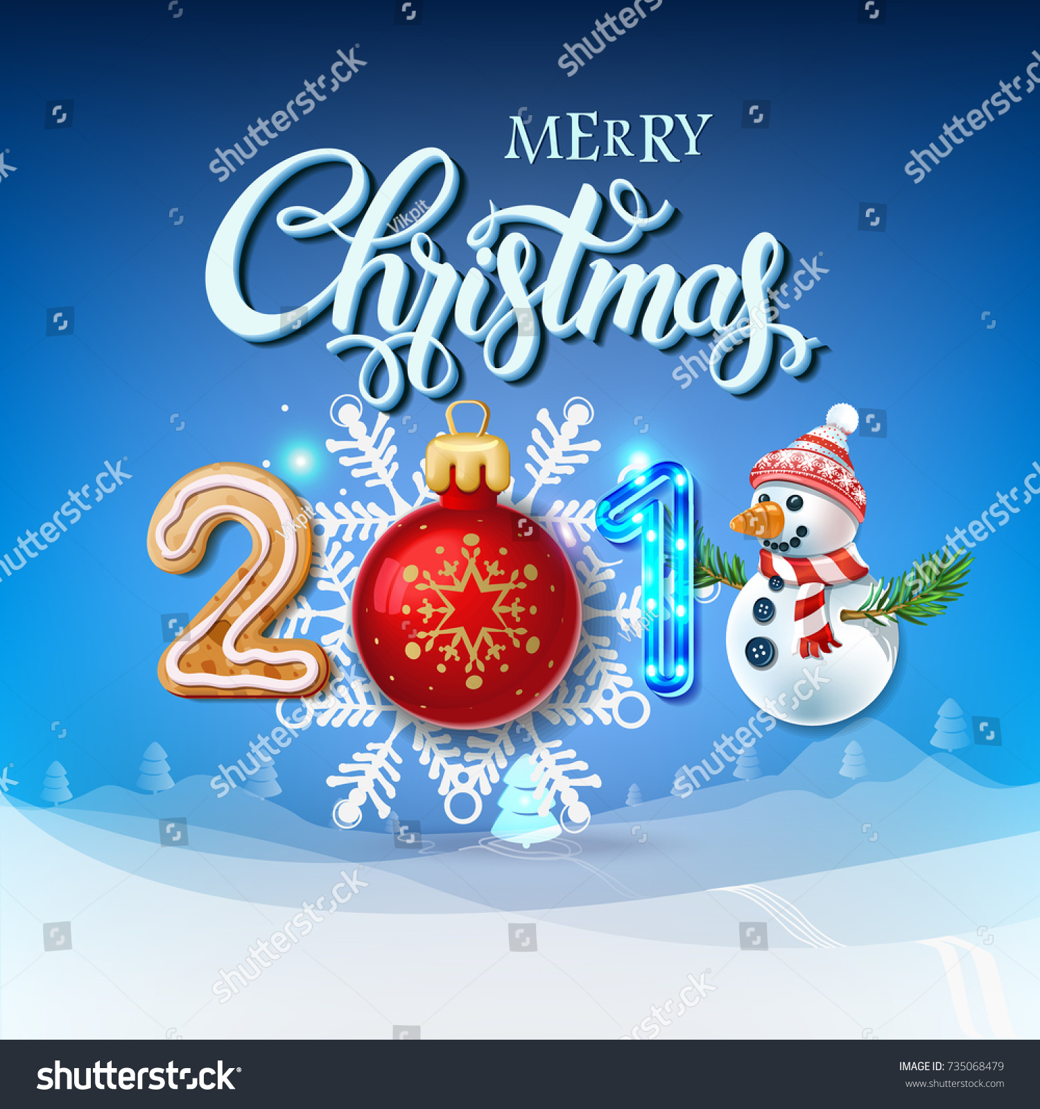 Merry Christmas 2018 Decoration Poster Card Stock Vector Royalty