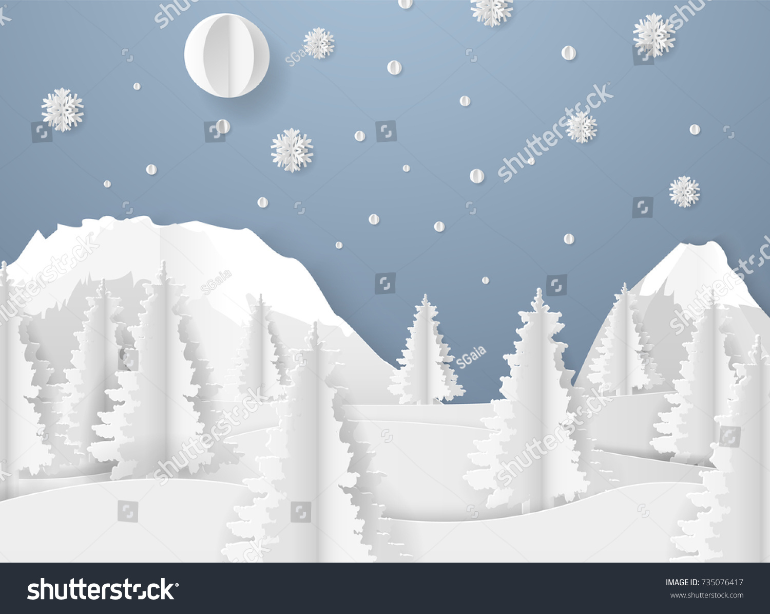 Christmas Card Paper Snow Flake Beautiful Stock Vector (Royalty Free ...