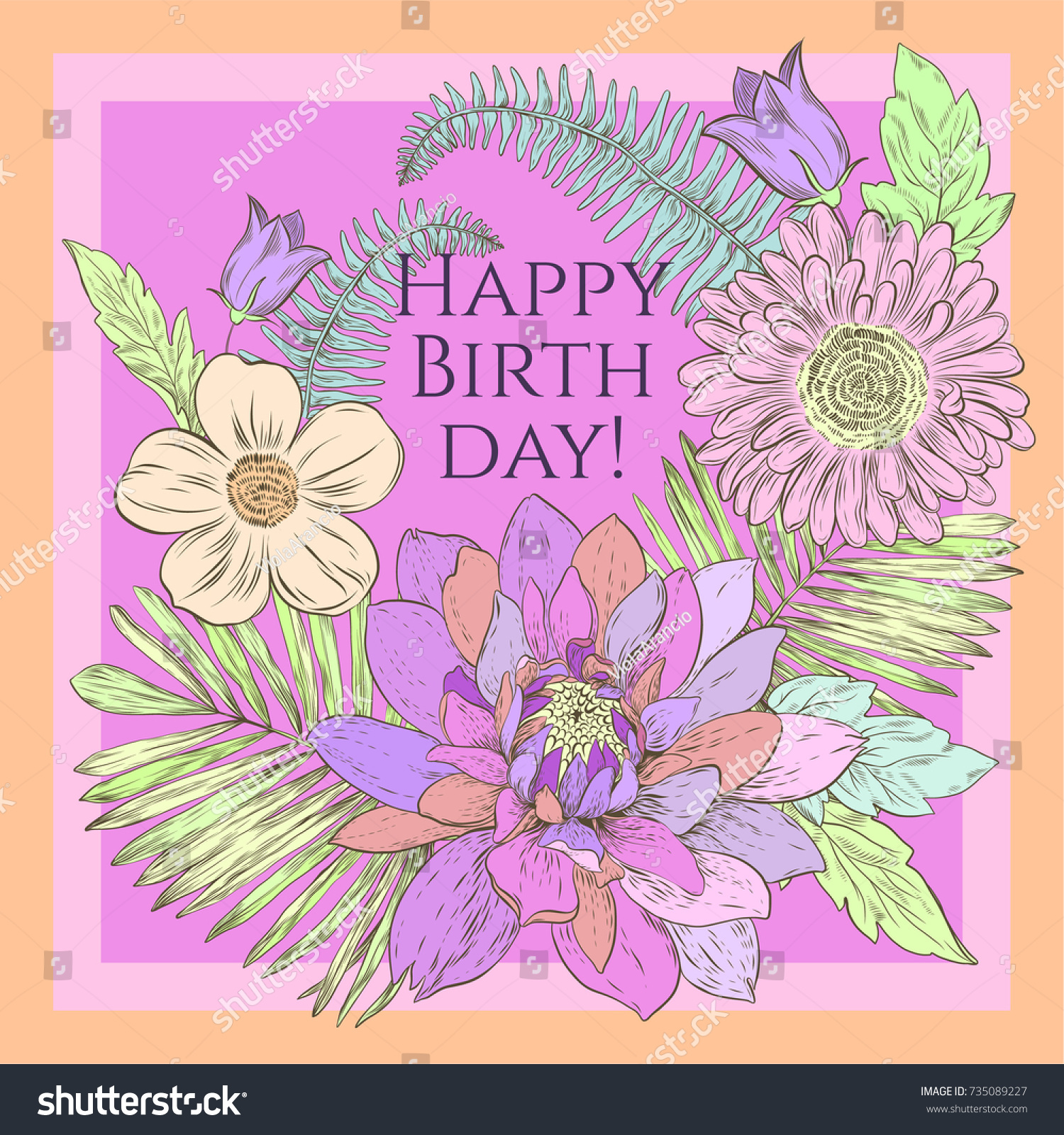 Vector floral happy birthday card beautiful stock vector royalty vector floral happy birthday card with beautiful flowers izmirmasajfo