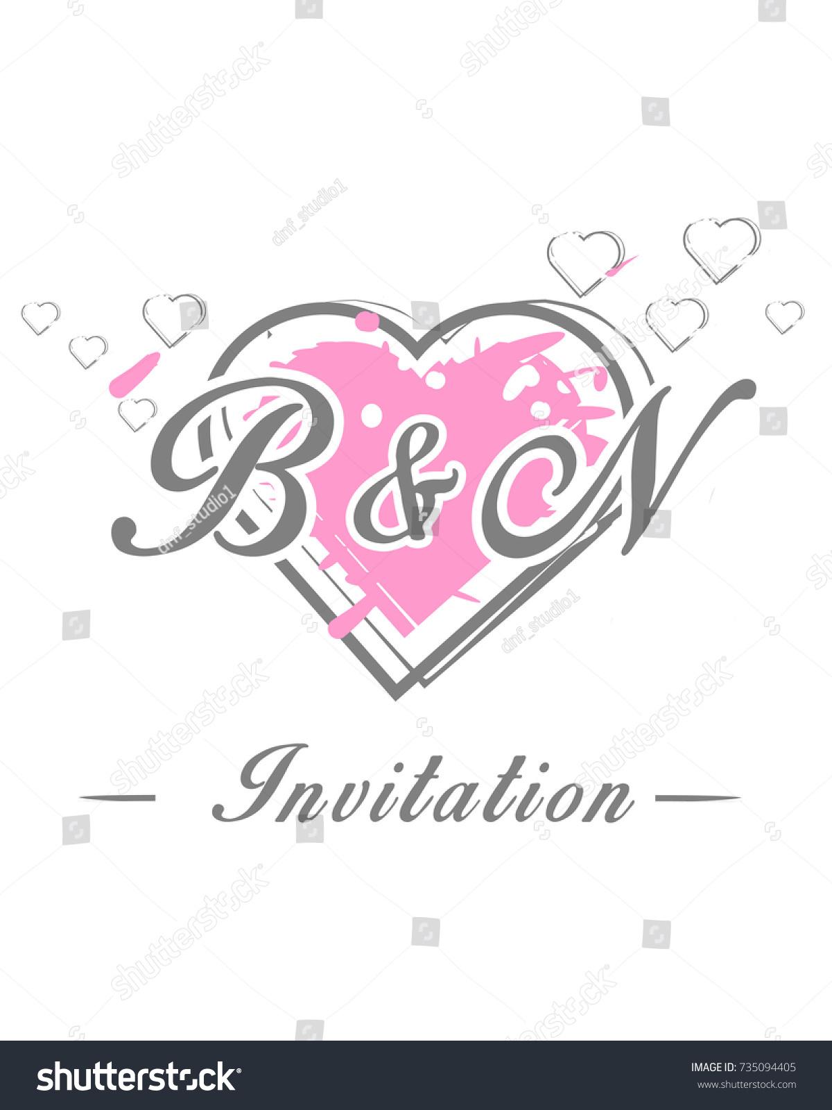Initial B N Wedding Invitation Logo Stock Vector Royalty Free