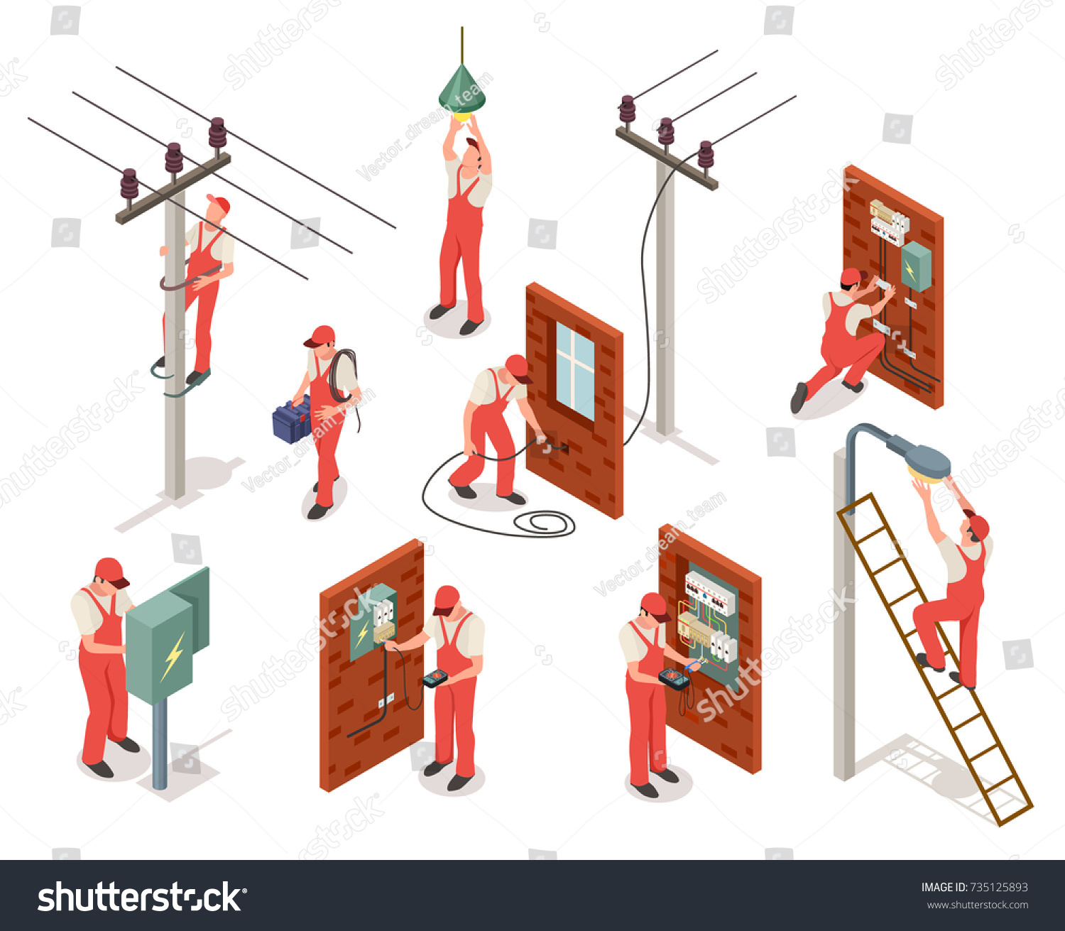 Electrician Red Uniform Works Wires Electrical Stock Vector ...