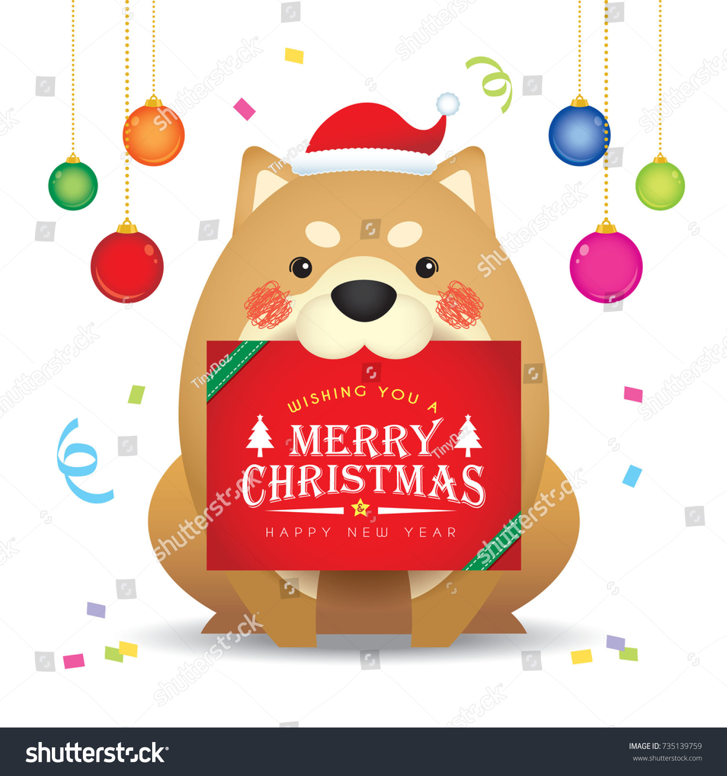 Cute Cartoon Dog Christmas Greetings Card Stock Vector 735139759