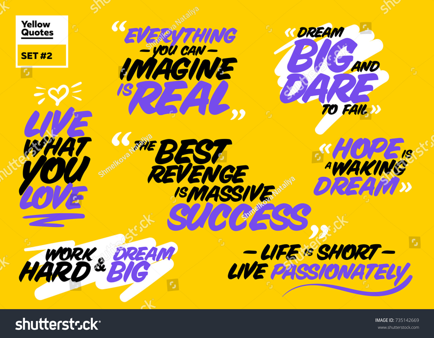 Famous Short Quotes Vector Collection Famous Inspirational Short Phrase Stock Vector