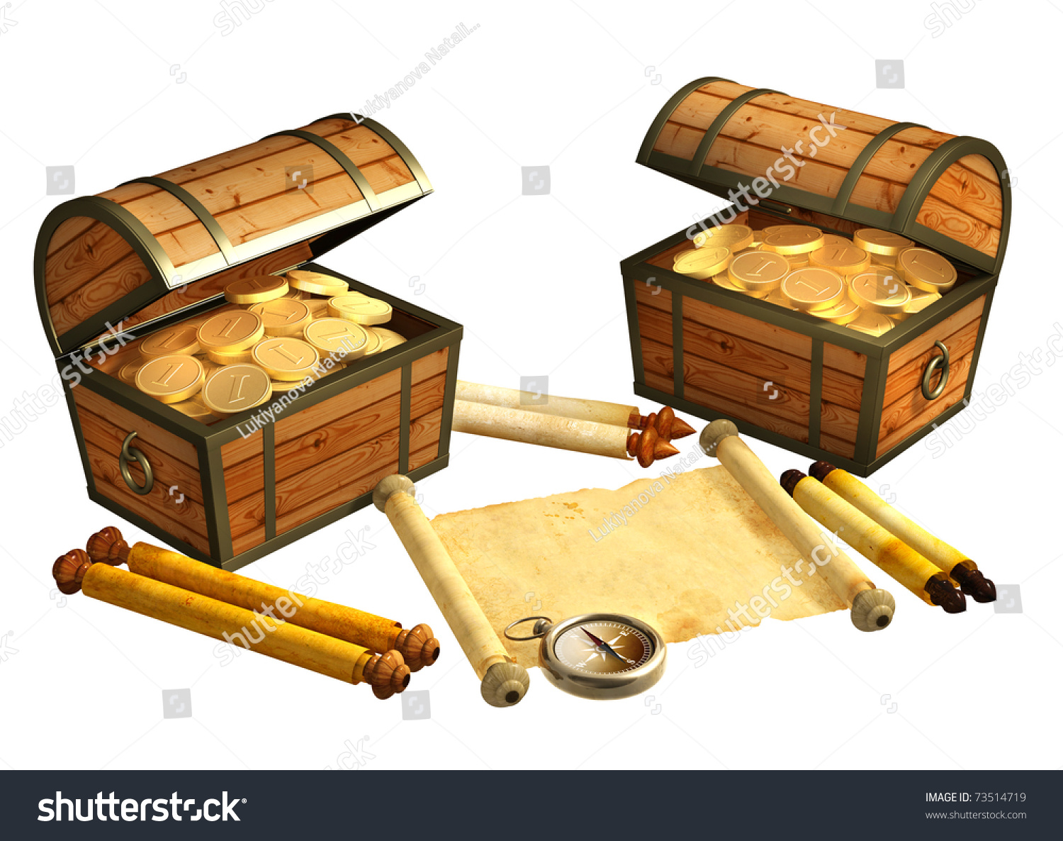 pirate treasure objects isolated over white stock illustration