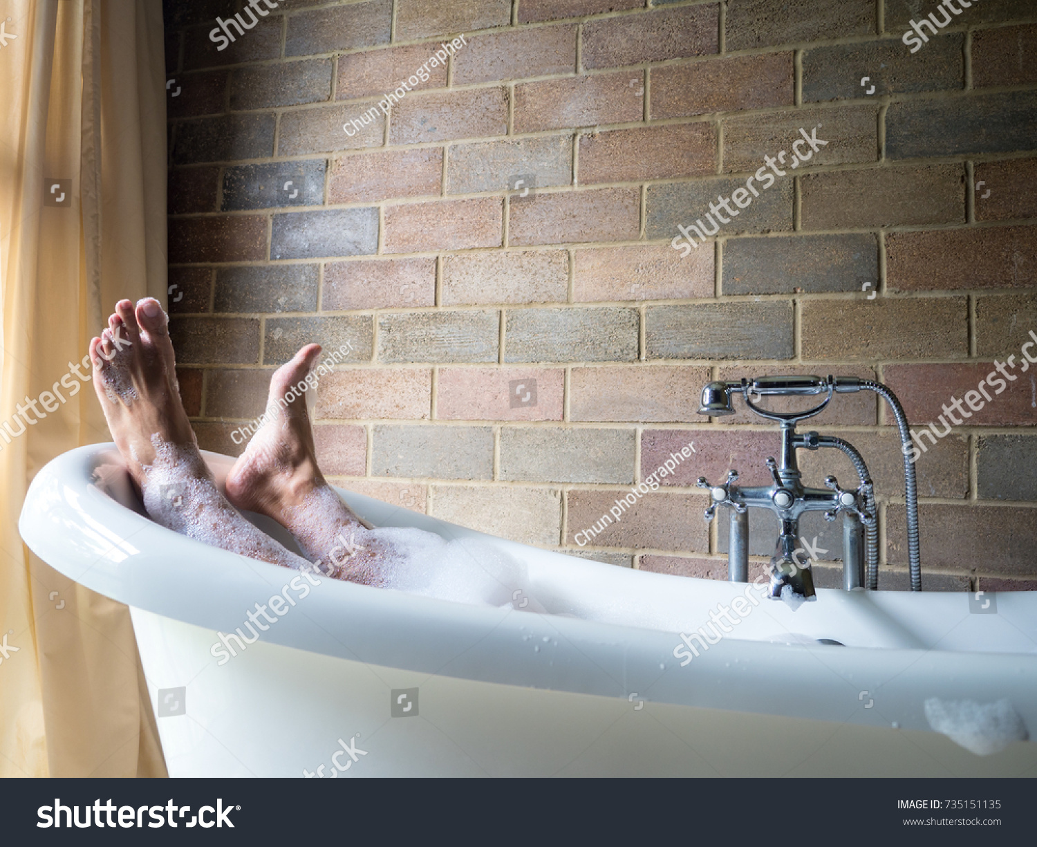 Mens Feet Covered Foam Bubble Bath Stock Photo (Royalty Free ...