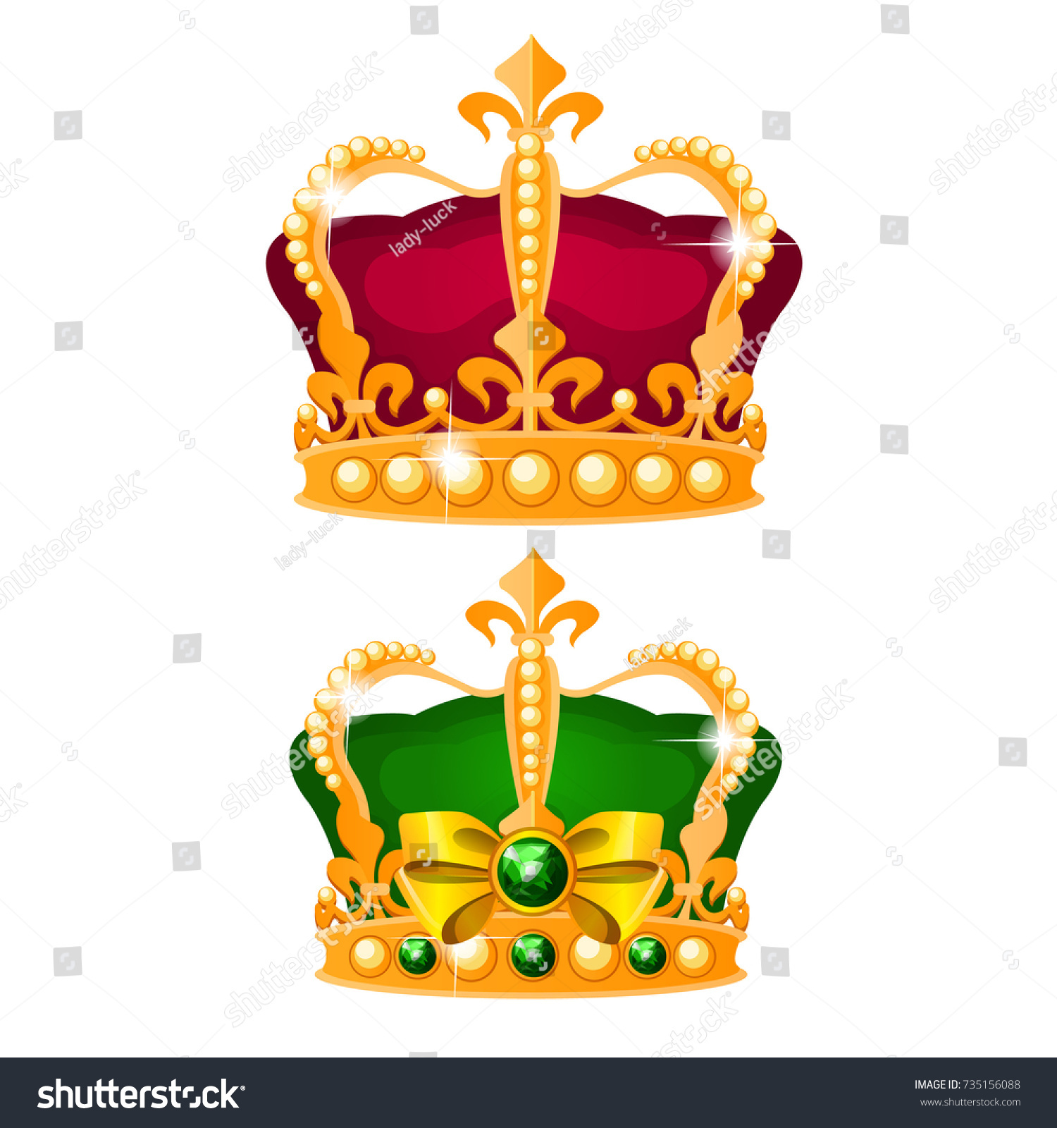 Set Vintage Imperial Crown Gold Green Stock Vector 735156088