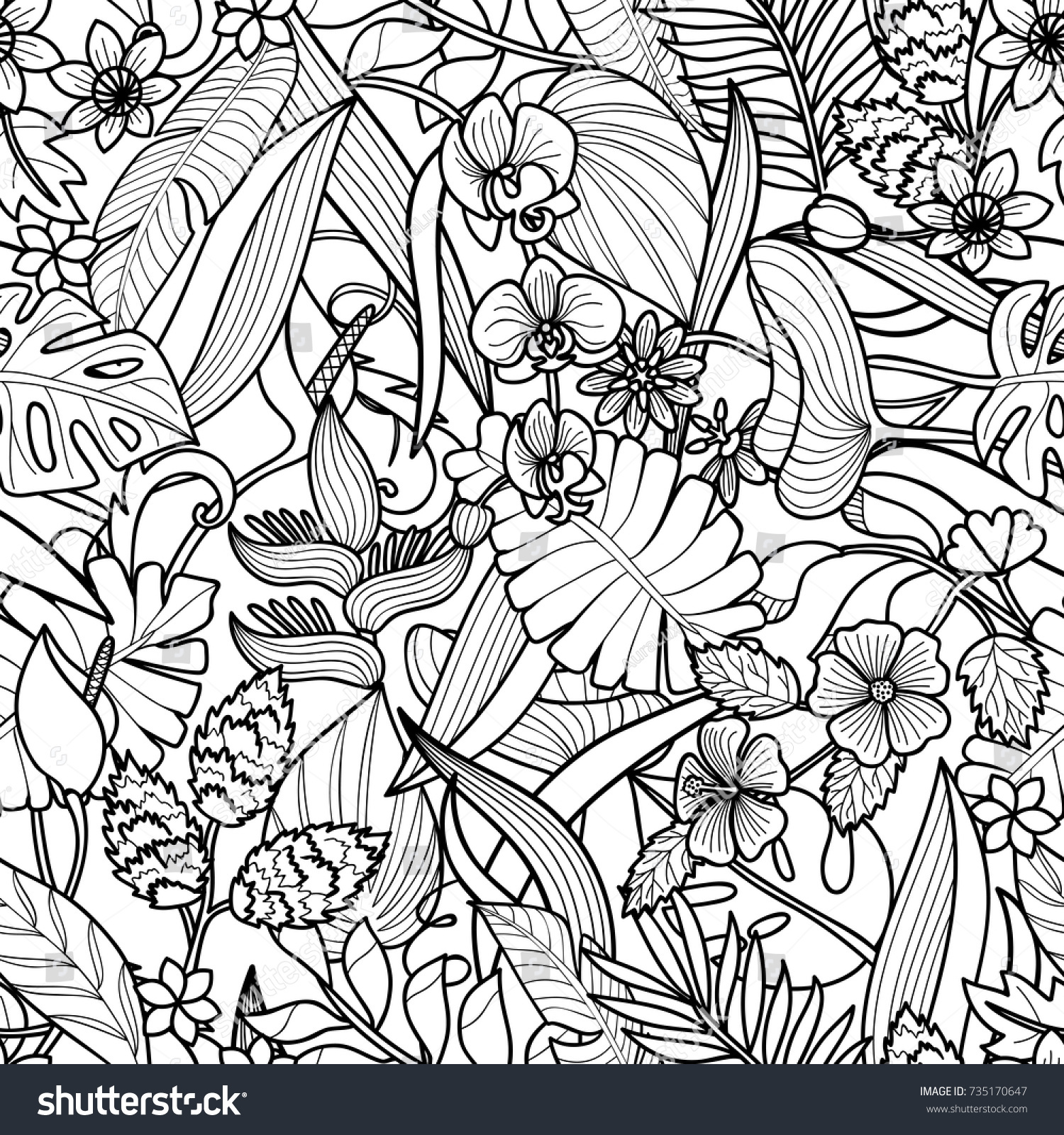 Tropical Flowers Plants Seamless Pattern Floral Stock Vector ...