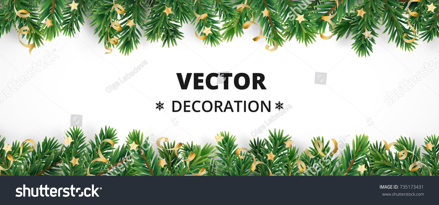 Winter holiday background. Border with Christmas tree branches and ornaments isolated on white. Fir needles garland, frame with streamers. Great for New year cards, banners, headers, party posters. #735173431
