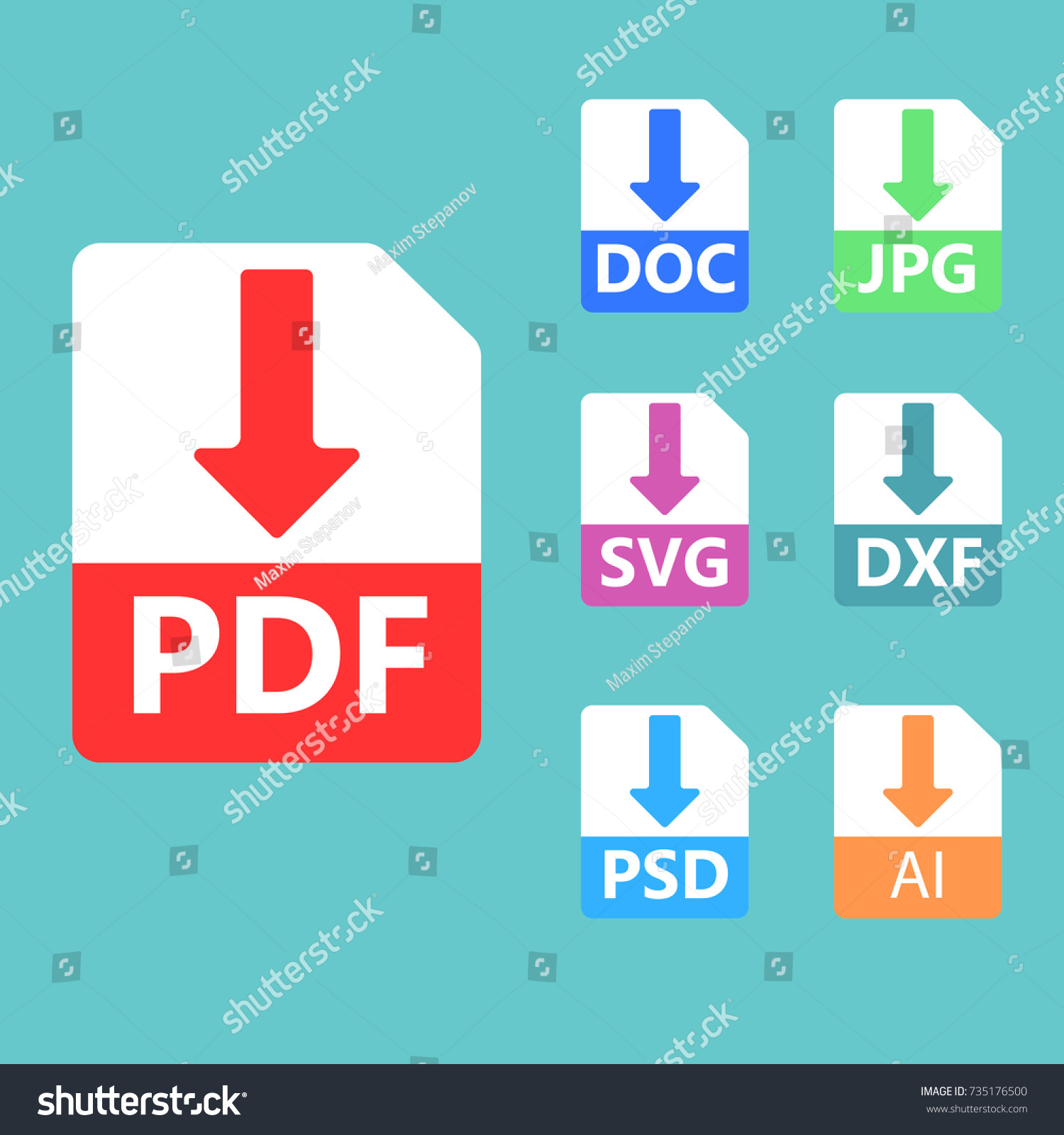 Collection Vector Icons Download Signs PDF Vector de stock (libre de ...