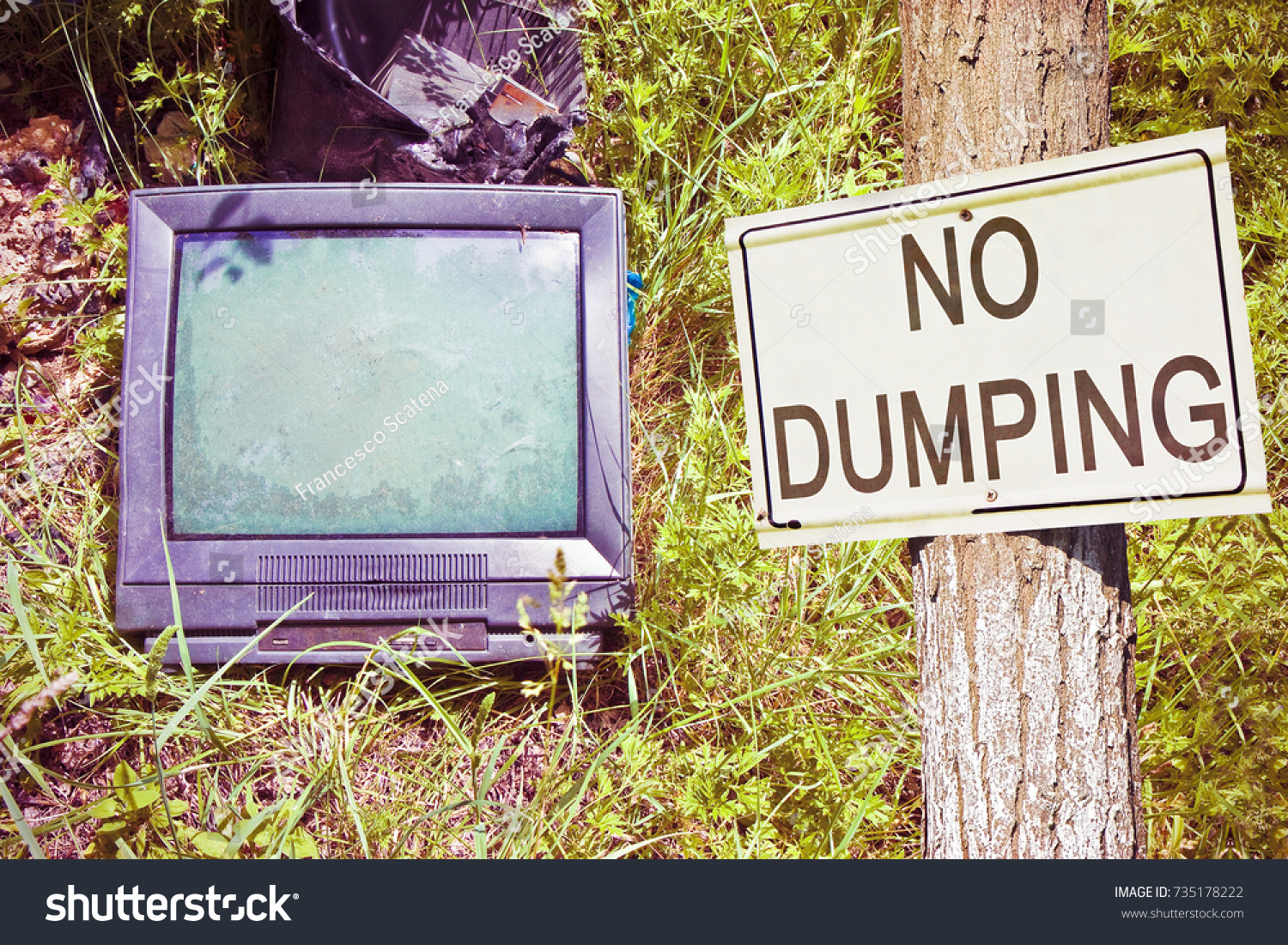 Old Television Crt Cathode Ray Tube Stock Photo Edit Now 735178222 Abandoned In Nature With No Dumping