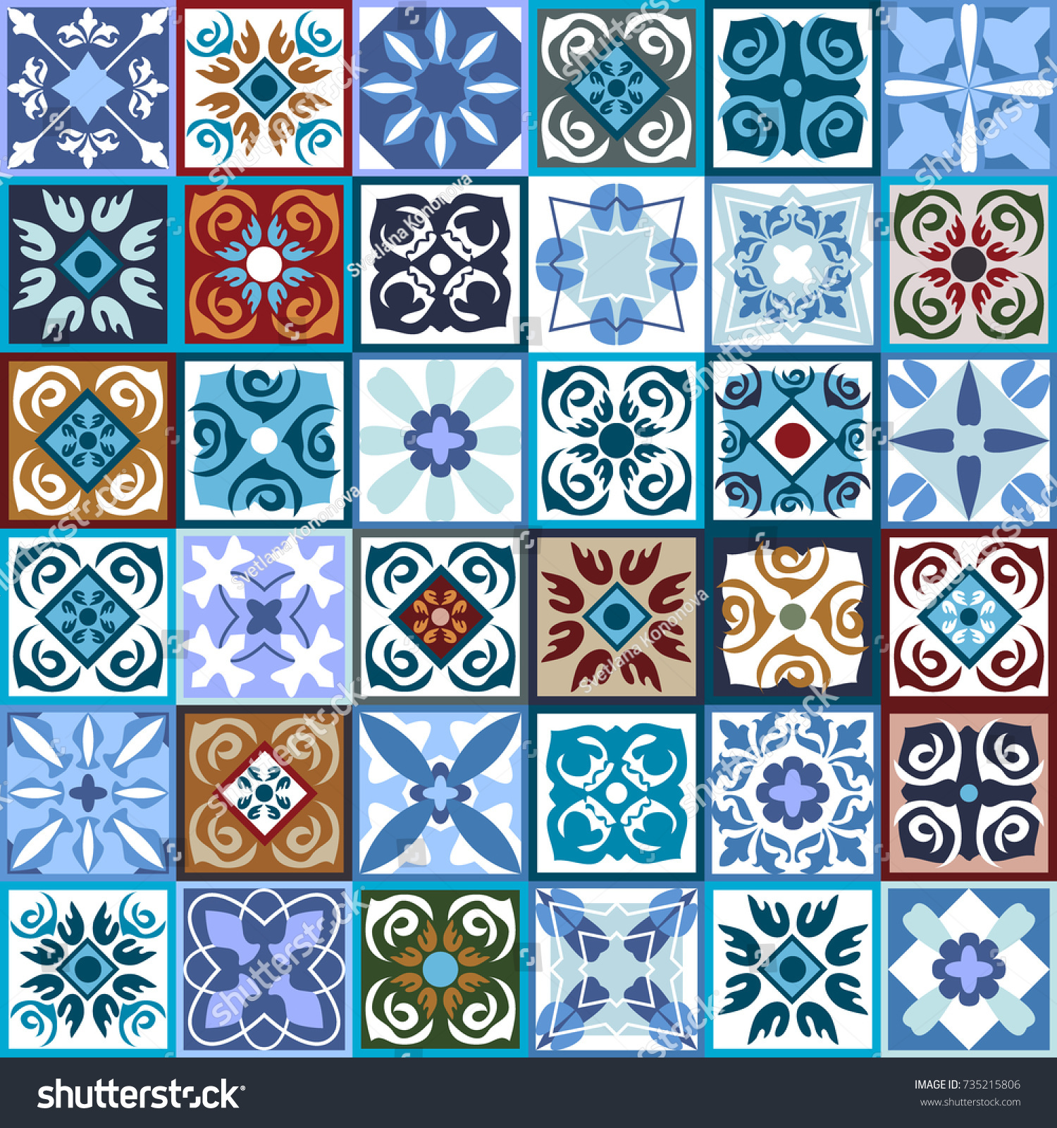Modern set checkered ceramic tiles glazed stock vector 735215806 modern set of checkered ceramic tiles glazed ceramic mosaic with moroccan spanish portuguese dailygadgetfo Gallery
