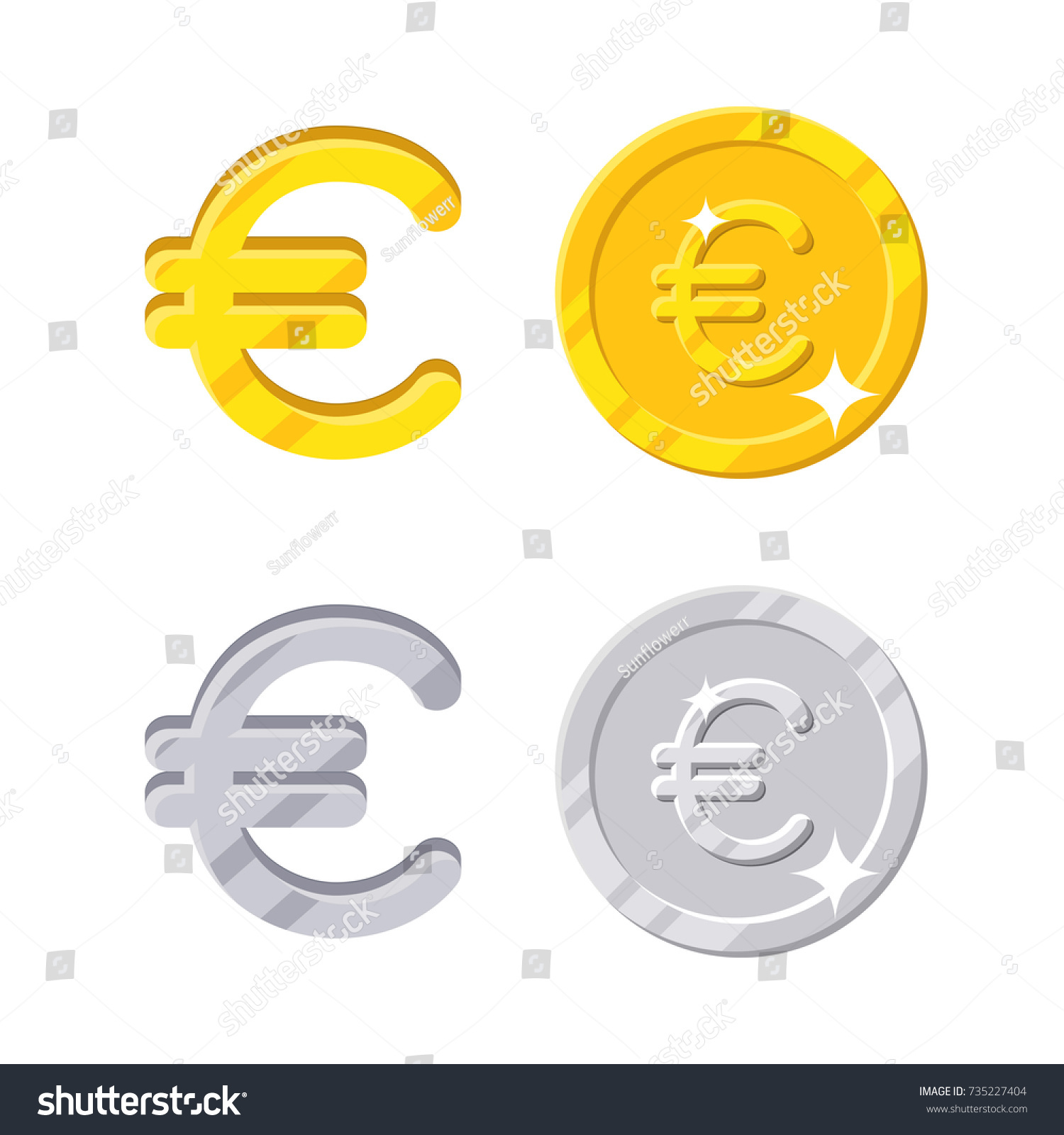 Euro sign gold silver symbol europa stock vector 735227404 euro sign gold and silver symbol of the europa currency and coins vector in biocorpaavc Images