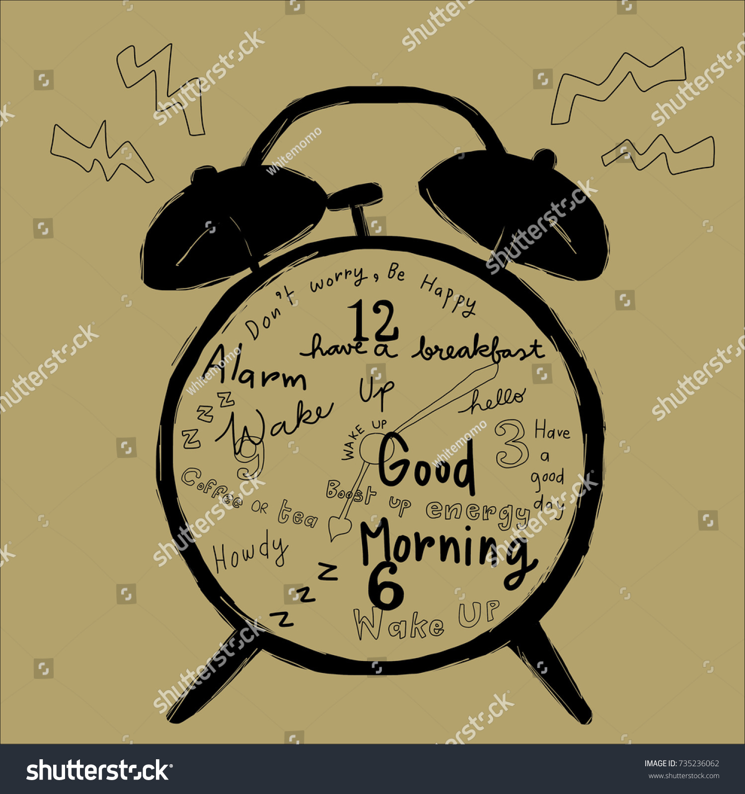 Classic Alarm Clock Ringing Greeting Messages Stock Vector Royalty
