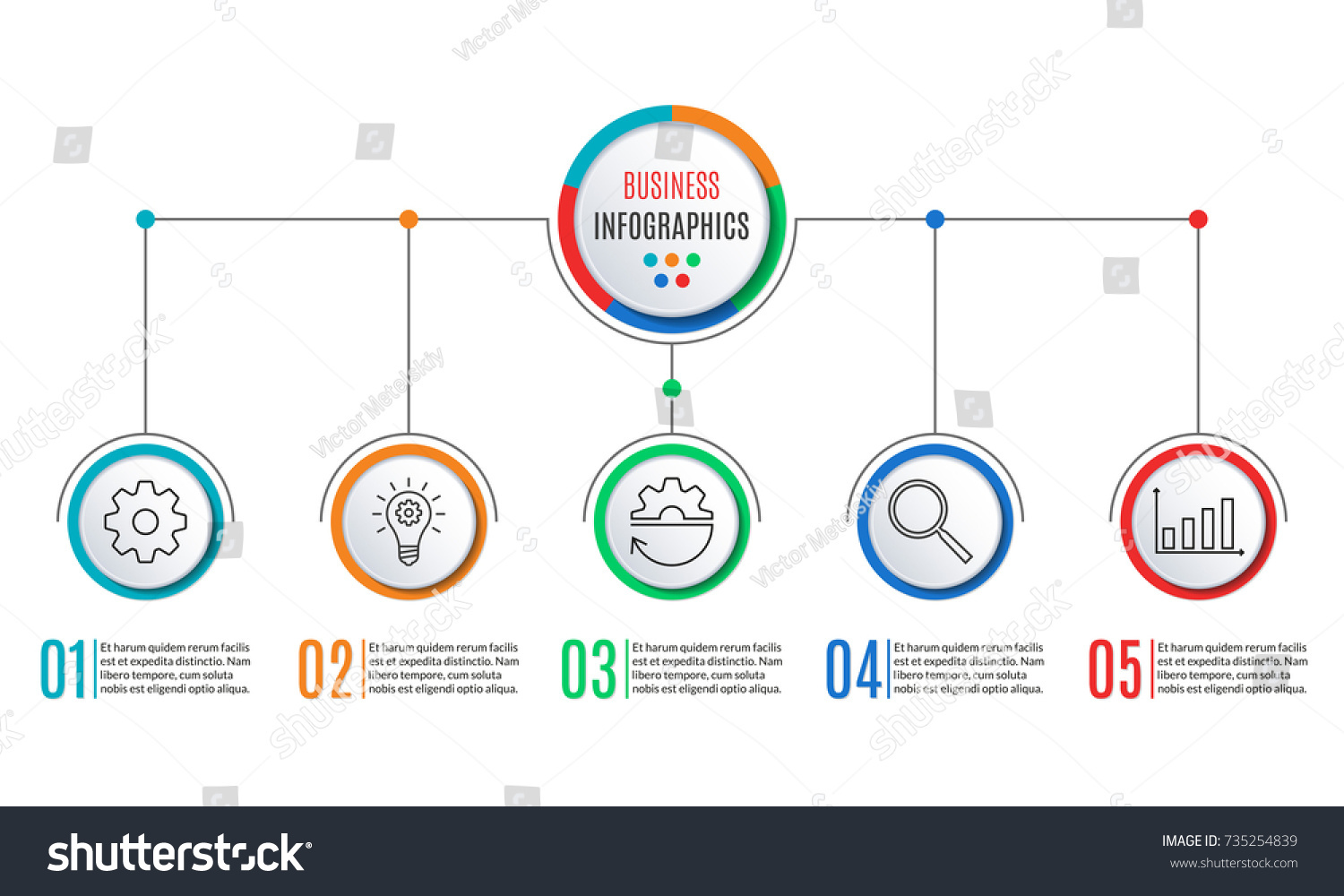 5 Steps Infographics Business Presentation Circle Stock Illustration Process Flow Diagram Levels For Infographic Template With Options