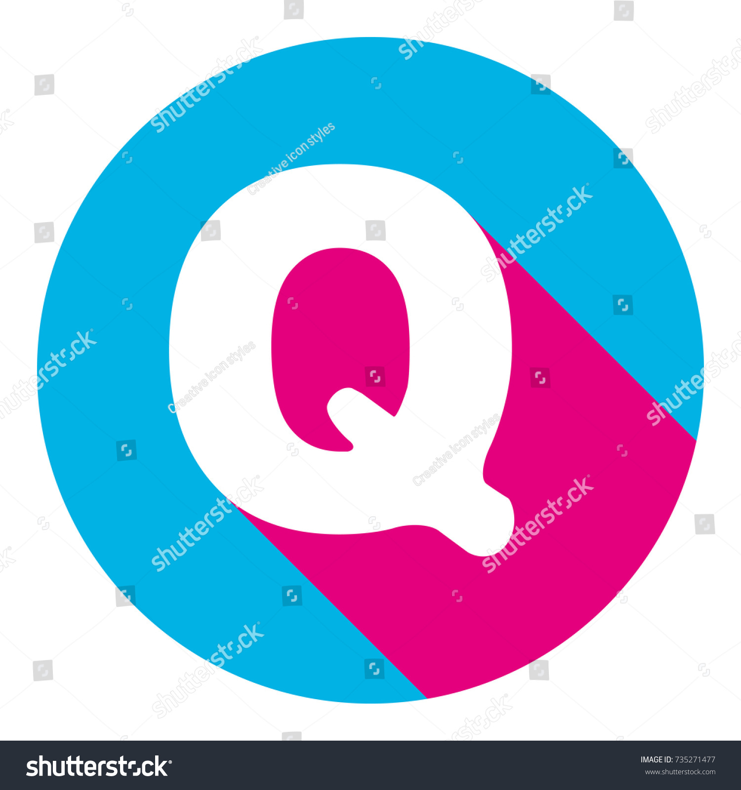 Letter Q sign design template element. Vector. Flat white icon with mexican  pink shadow