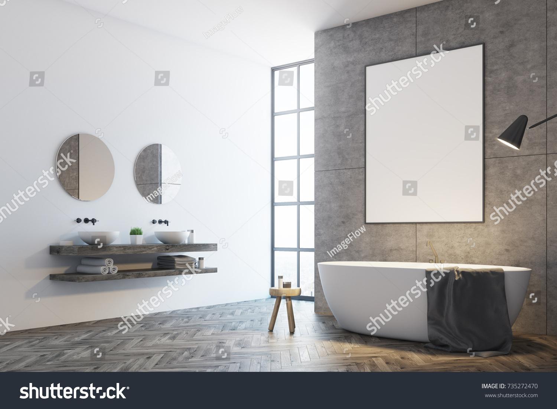Concrete Bathroom Interior White Concrete Walls Stock Illustration ...