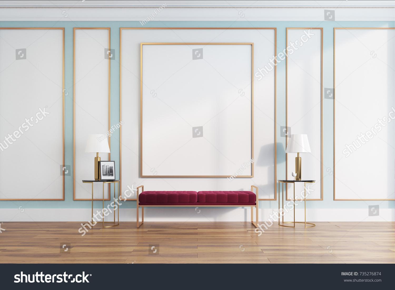 White Green Living Room Interior Narrow Stock Illustration 735276874 ...