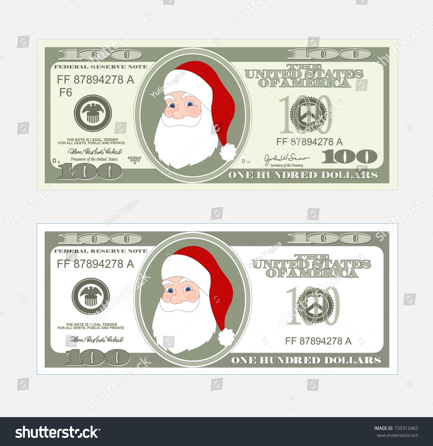 Design Template 100 Dollars Banknote Santa Stock Vector (Royalty ...
