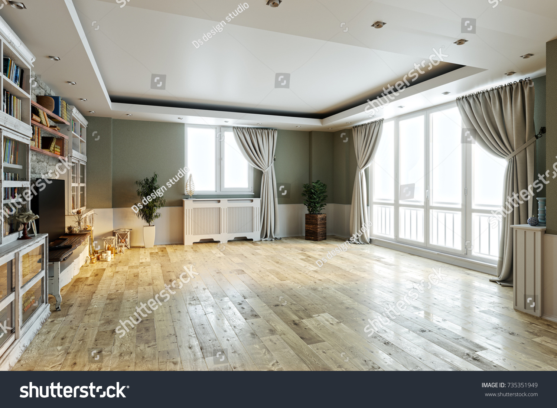empty interior design living room  balcony with large windows  Scandinavian  style  TV unit. Empty Interior Design Living Room Balcony Stock Illustration