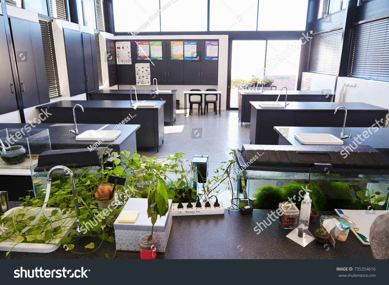 Modern Science Classroom ~ Modern science classroom elementary school stock photo