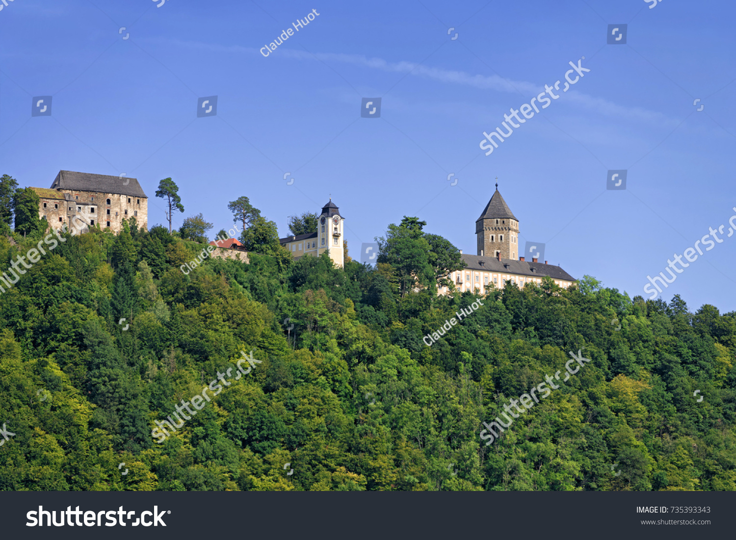 UNTERMUHL, AUSTRIA - SEPTEMBER 9, 2017: This is the Neuhaus Castle which is situated above the village of Untermuhl on the Danube. The site is privately owned and inhabited. It was renovated in 2007.