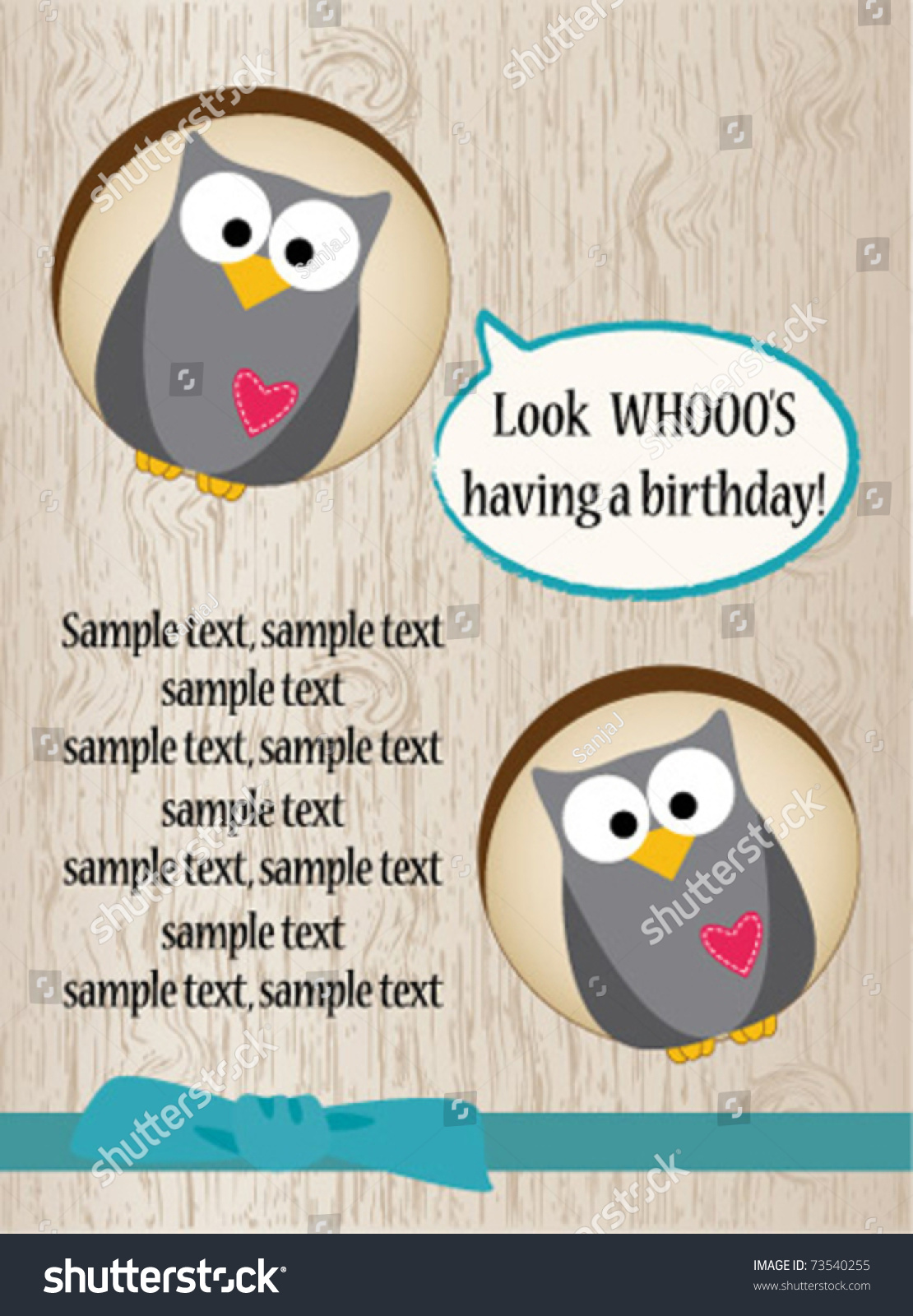 funny owl birthday card stock vector   shutterstock, Birthday card