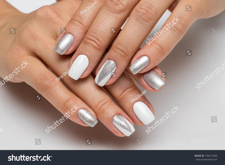 White Silver Manicure Triangles On Square Stock Photo (100% Legal ...