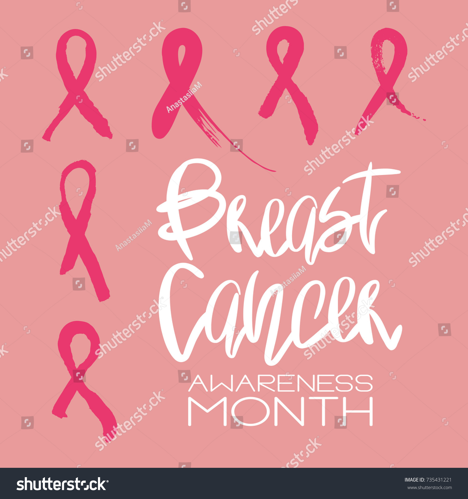 Set 6 pink ribbons breast cancer stock vector 735431221 shutterstock set of 6 pink ribbons breast cancer awareness month symbol handdrawn messy pink tape biocorpaavc Choice Image