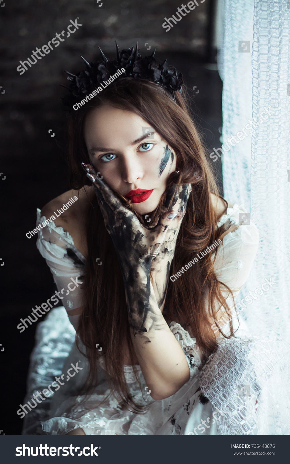 Beautiful Young Gothic Woman Black Flowers Stock Photo Edit Now