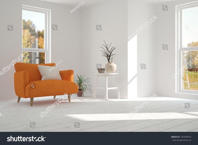 Inspiration White Minimalist Room Orange Armchair Stock Illustration ...