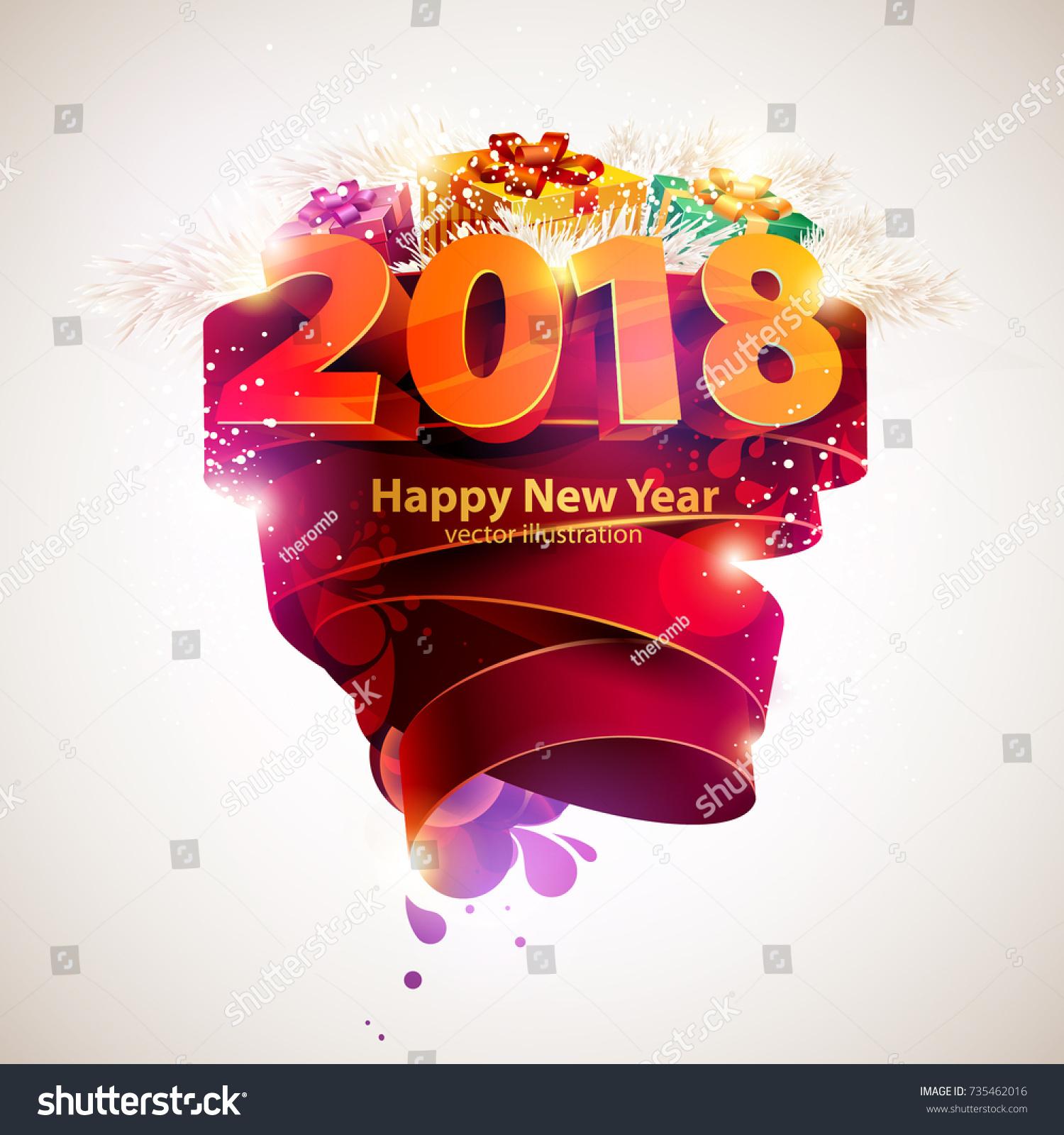 New Year Poster Template   Happy New Year 2018 Poster Template Stock Vektorgrafik Lizenzfrei