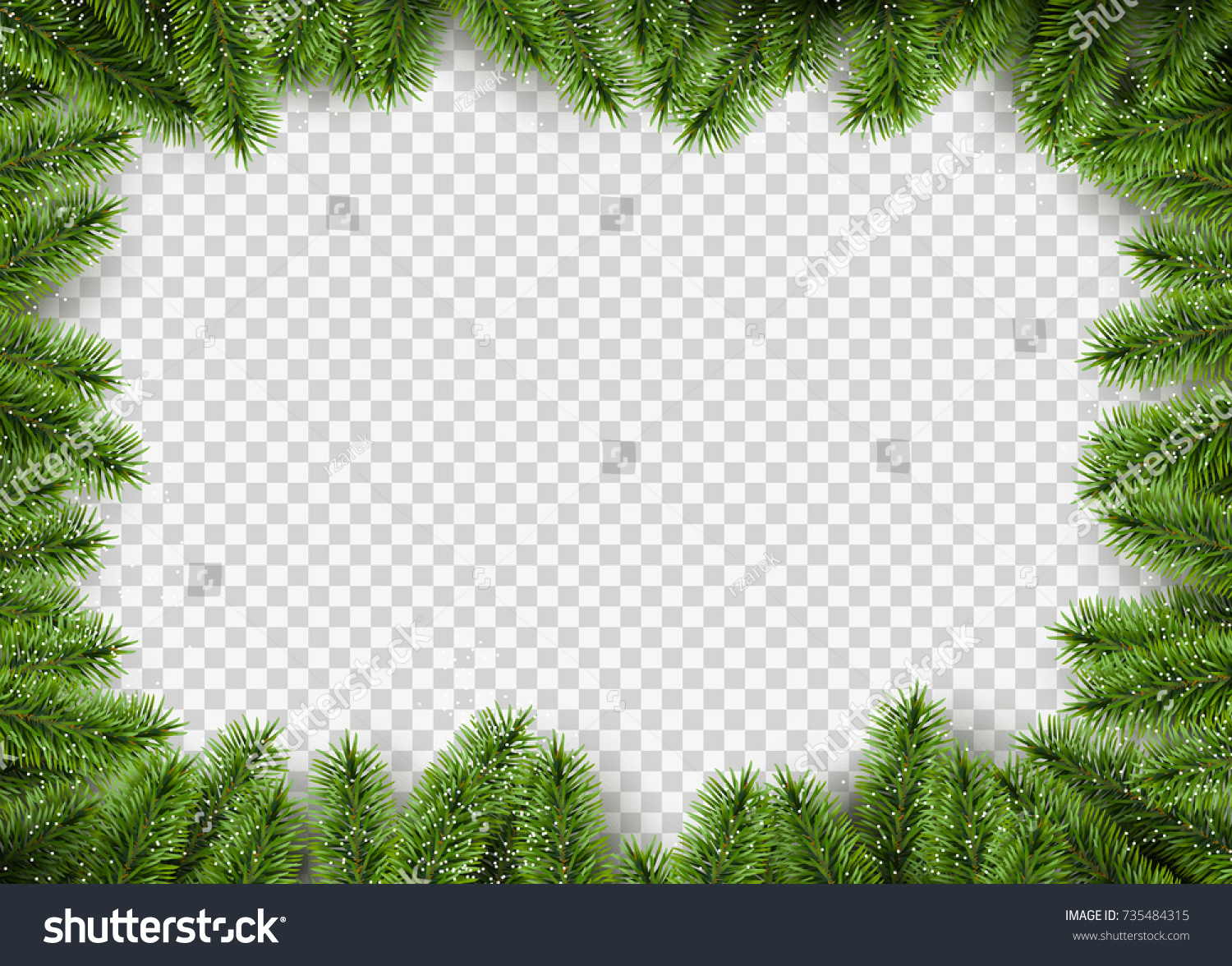 Vector Christmas Frame Pine Branches Transparent Stock