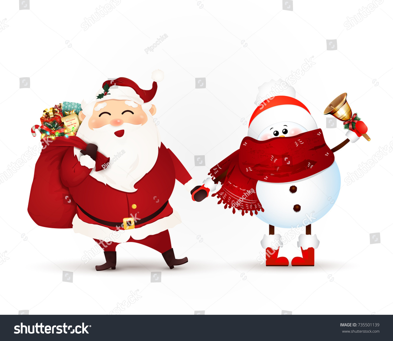 Cute Cheerful Santa Claus Gift Bag Stock Vector (Royalty Free ...