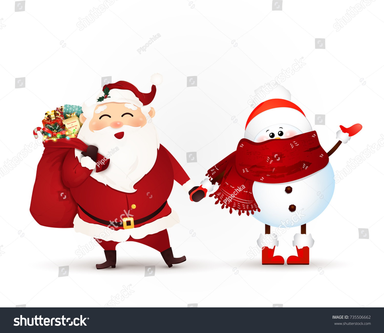 Cute Funny Santa Claus Gift Bag Stock Illustration 735506662 ...