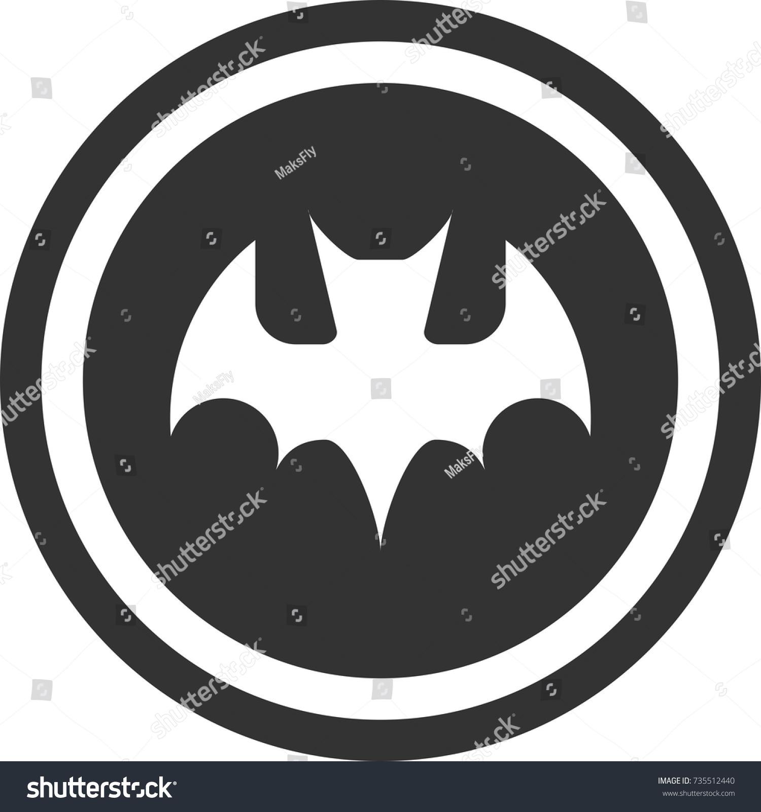 Bat icon dark round sign design stock vector 735512440 shutterstock bat icon dark round sign design halloween buycottarizona Image collections