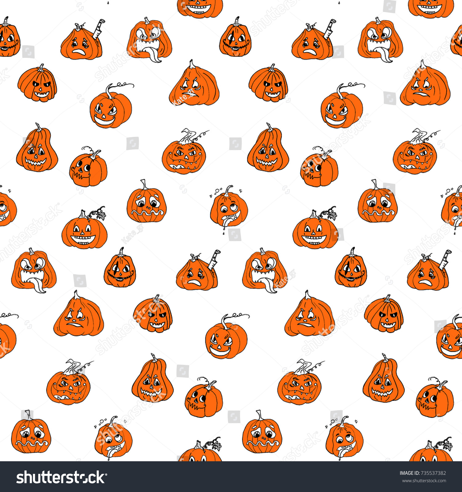 Halloween Doodles Color Sketch Seamless Pattern Stock Vector Orange Themed Circuit Board Drawing Clipart Illustration With Pumpkin Hand Drawn Doodle Autumn