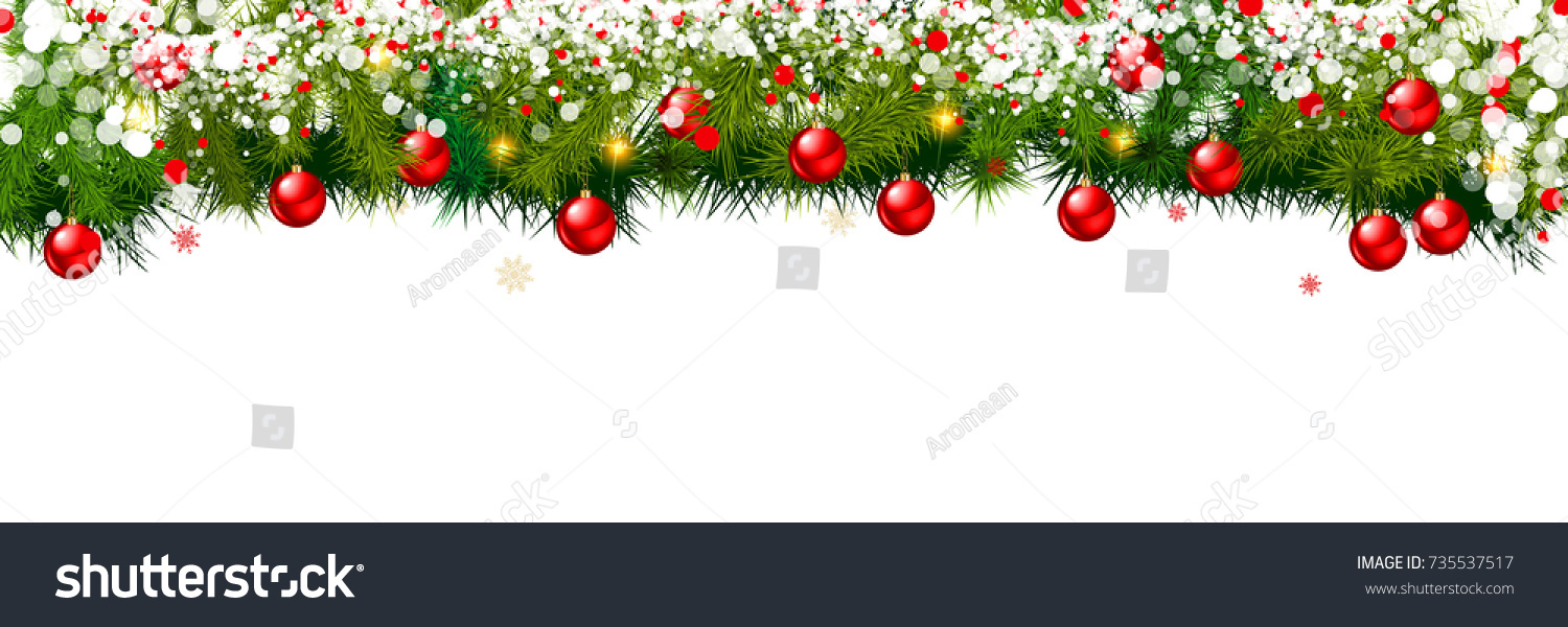 new year background christmas balls and spruce branches on white background vector illustration