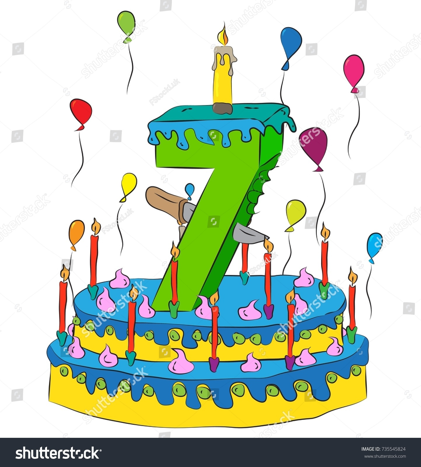 7 Birthday Cake Number Seven Candle Stock Vector Royalty Free