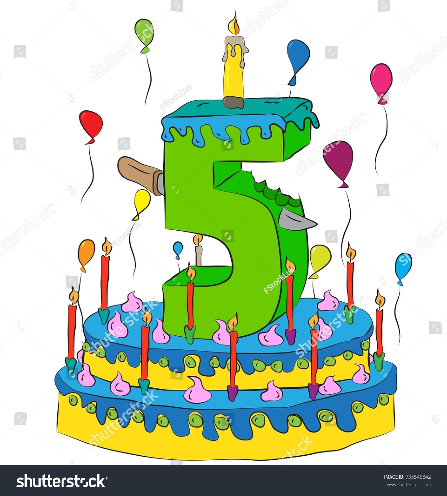 Phenomenal 5 Birthday Cake Number Five Candle Stock Vector Royalty Free Funny Birthday Cards Online Aboleapandamsfinfo