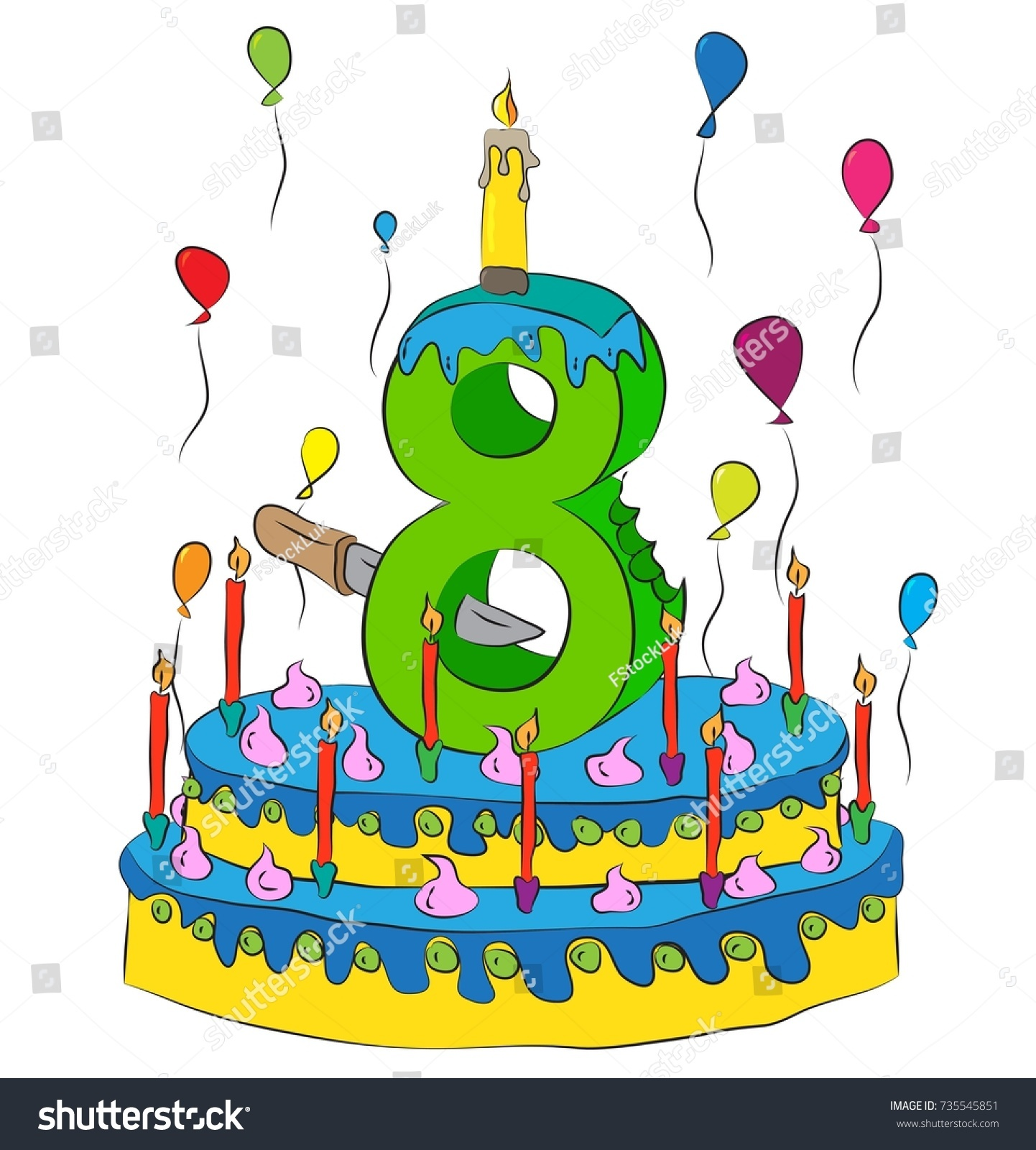 8 Birthday Cake Number Eight Candle Stock Vector 735545851